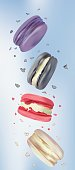 3d realistic macaroons in blue background. Set colorful french sweet in motion. Vector illustrator.