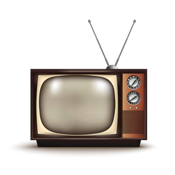 3d realistic retro tv.vintage.vector illustration - телевизионная индустрия stock illustrations