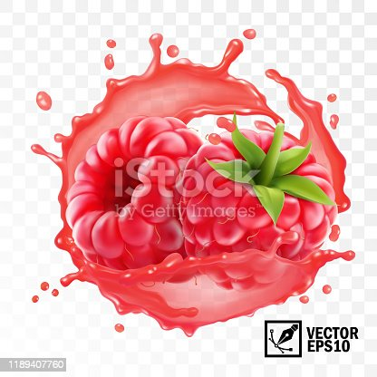 3d realistic transparent isolated vector, peeled raspberry fruit in a splash of juice with drops, edible handmade mesh