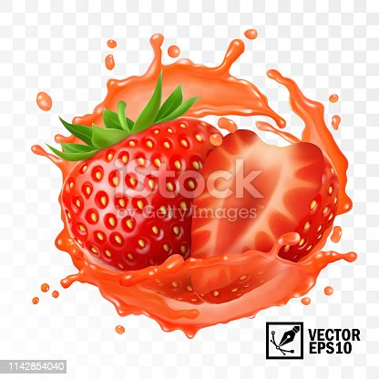 3d realistic transparent isolated vector, peeled strawberry fruit in a splash of juice with drops, edible handmade mesh