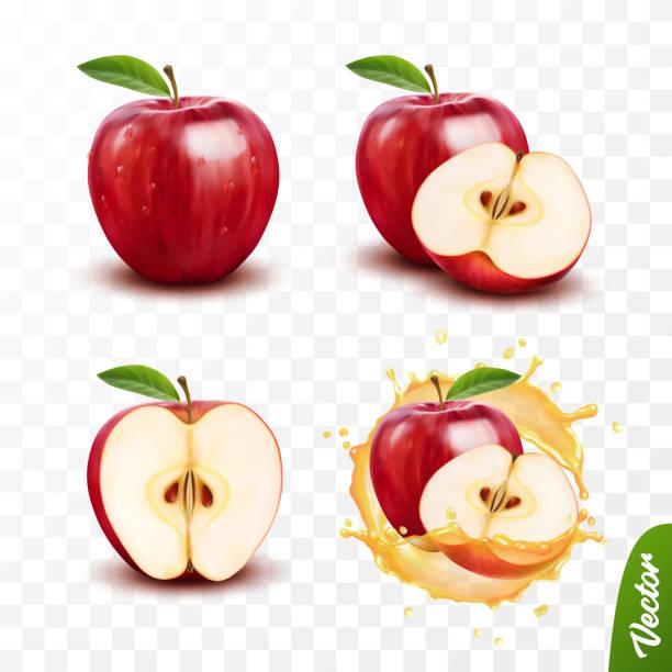 illustrazioni stock, clip art, cartoni animati e icone di tendenza di set di vettori isolato trasparente 3d 3d, intero e fetta di mela, mela in una spruzzata di succo con gocce - mela