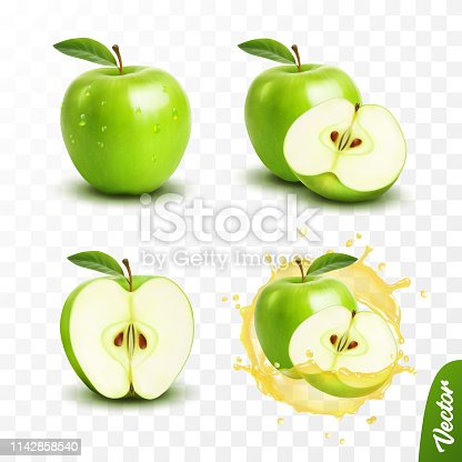3d realistic transparent isolated vector set, whole and slice of green apple, apple in a splash of juice with drops