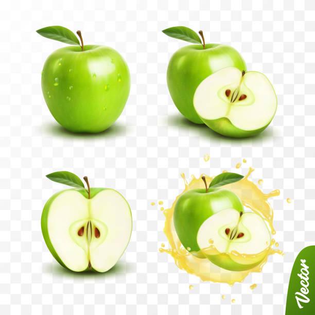 illustrazioni stock, clip art, cartoni animati e icone di tendenza di 3d realistic transparent isolated vector set, whole and slice of green apple, apple in a splash of juice with drops - mela