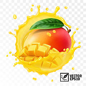 3d realistic transparent isolated vector, whole and pieces mango fruit with leaf in a splash of juice with drops