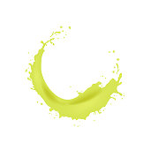 3d realistic twisted juice splash with drops. Isolated surfing wave on white background. Product package design. EPS10 Vector