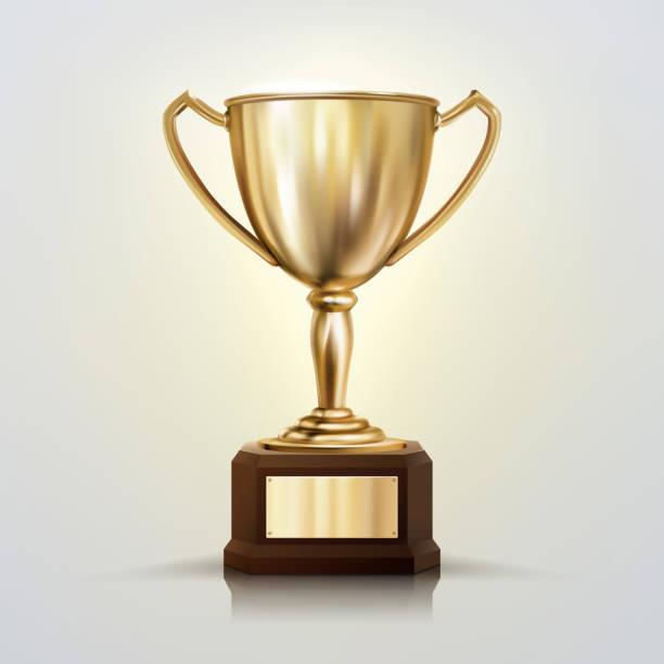 ilustrações, clipart, desenhos animados e ícones de copo dourado realístico do vetor 3d isolado no fundo branco. troféu do campeonato. prêmio de torneio esportivo. - troféu