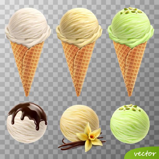 stockillustraties, clipart, cartoons en iconen met 3d realistische vector ijs scoops in een wafel kegels (gesmolten chocolade, vanille bloem en stokken, pistachenoten) - bevroren voedsel