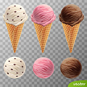 3d realistic vector ice cream scoops in a waffle cones (with raisins, fruit strawberry, chocolate)