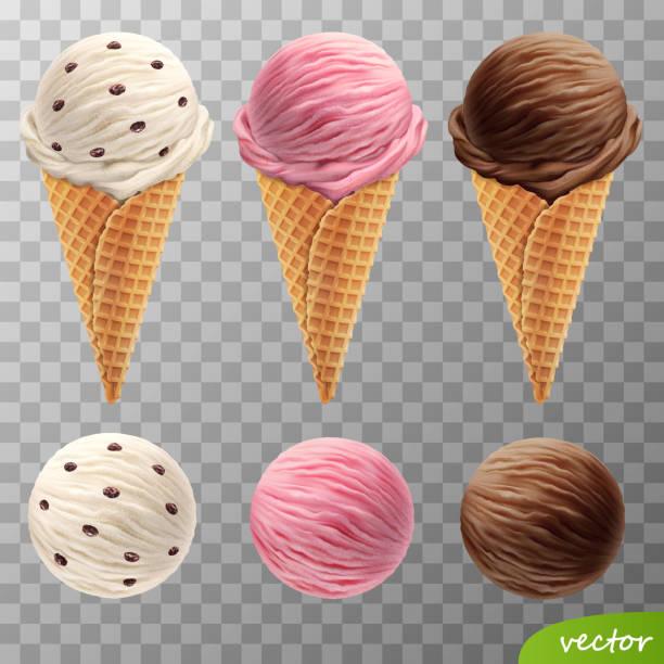 ワッフルコーンで3d リアルなベクターアイスクリームスクープ (レーズン、フルーツストロベリー、チョコレート) - アイスクリーム点のイラスト素材/クリップアート素材/マンガ素材/アイコン素材
