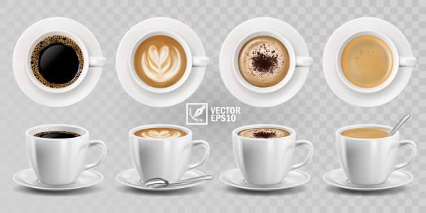 3d realistyczny wektor izolowane białe filiżanki kawy z łyżką, górny i boczny widok, cappuccino, americano, espresso, mokka, latte, kakao - coffee stock illustrations