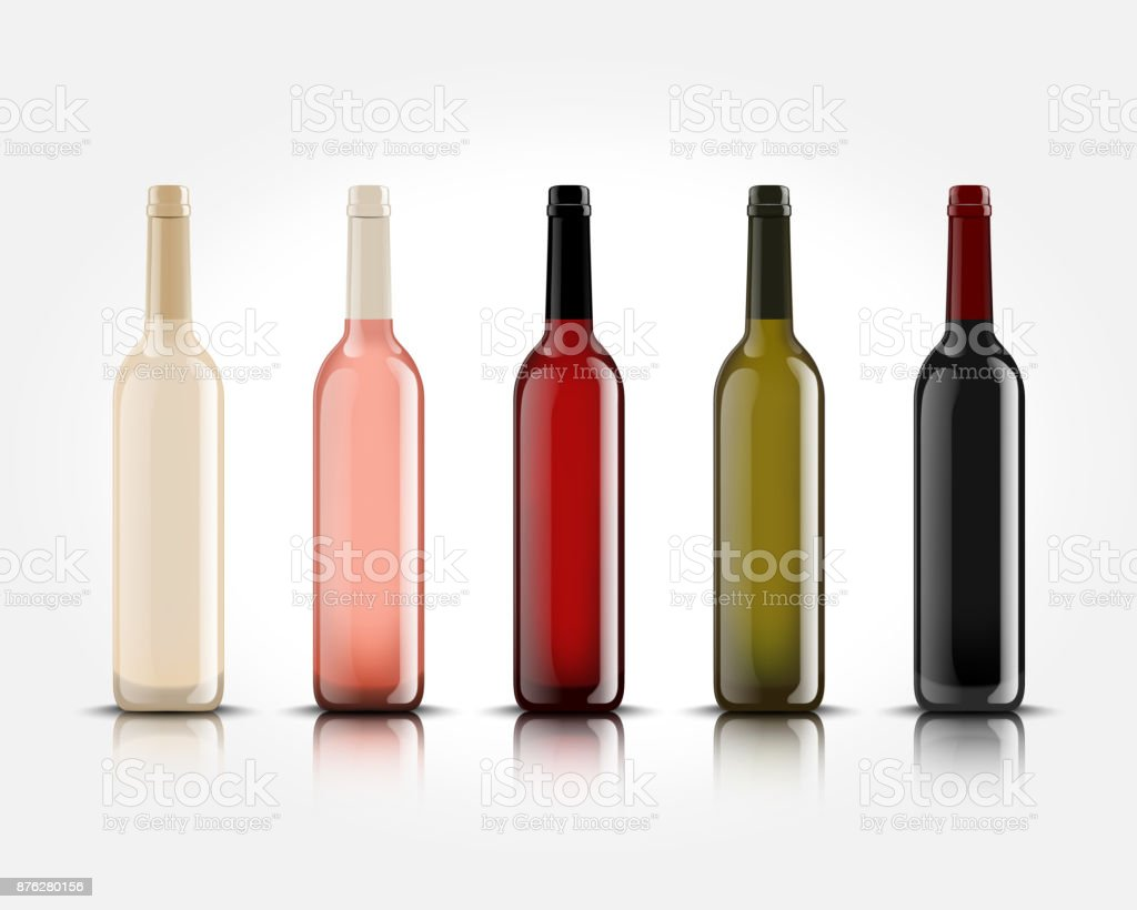 3d realistic vector isolated wine bottles without labels for your design and icon. Mockup for presentation of your product vector art illustration