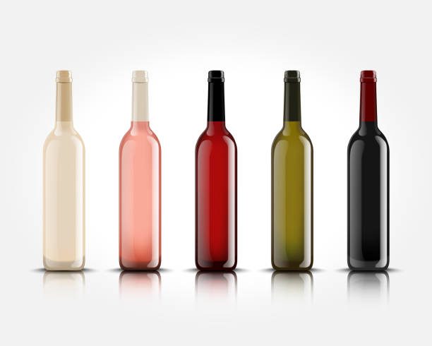 3d realistic vector isolated wine bottles without labels for your design and icon. mockup for presentation of your product - butelka wina stock illustrations