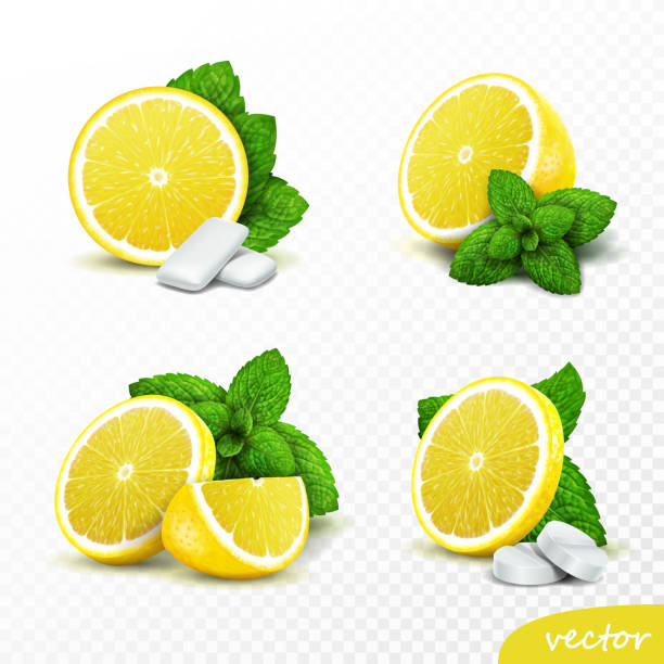 illustrazioni stock, clip art, cartoni animati e icone di tendenza di 3d realistic vector set of whole and sliced lemons with fresh mint leaves, options with round pills and gum pads - limone