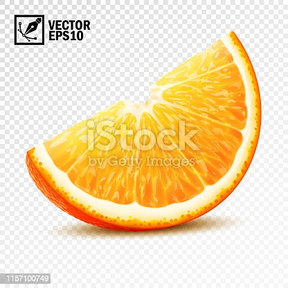 3d realistic vector slice of half an orange