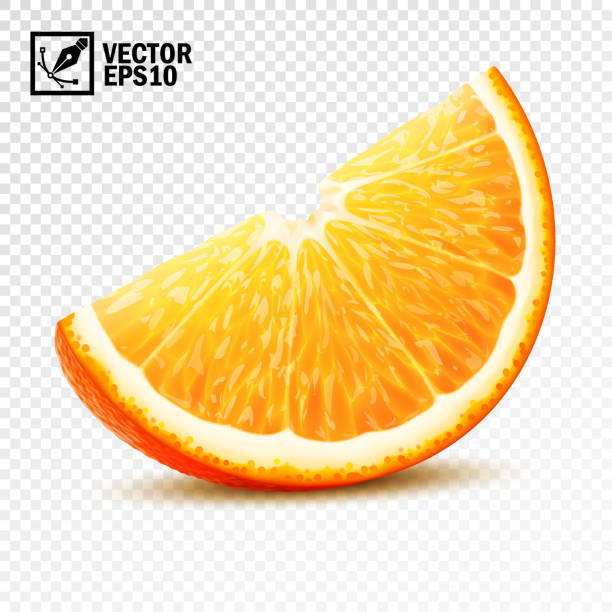 3d realistic vector slice of half an orange - orange color stock illustrations