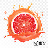 3d realistic vector sliced grapefruit in a transparent splash of juice with drops, editable handmade mesh