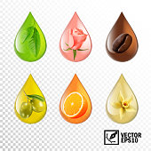 3d realistic vector transparent drops oil with taste and aroma: tea, rose, coffee, olive, orange, vanilla. Editable handmade mesh\