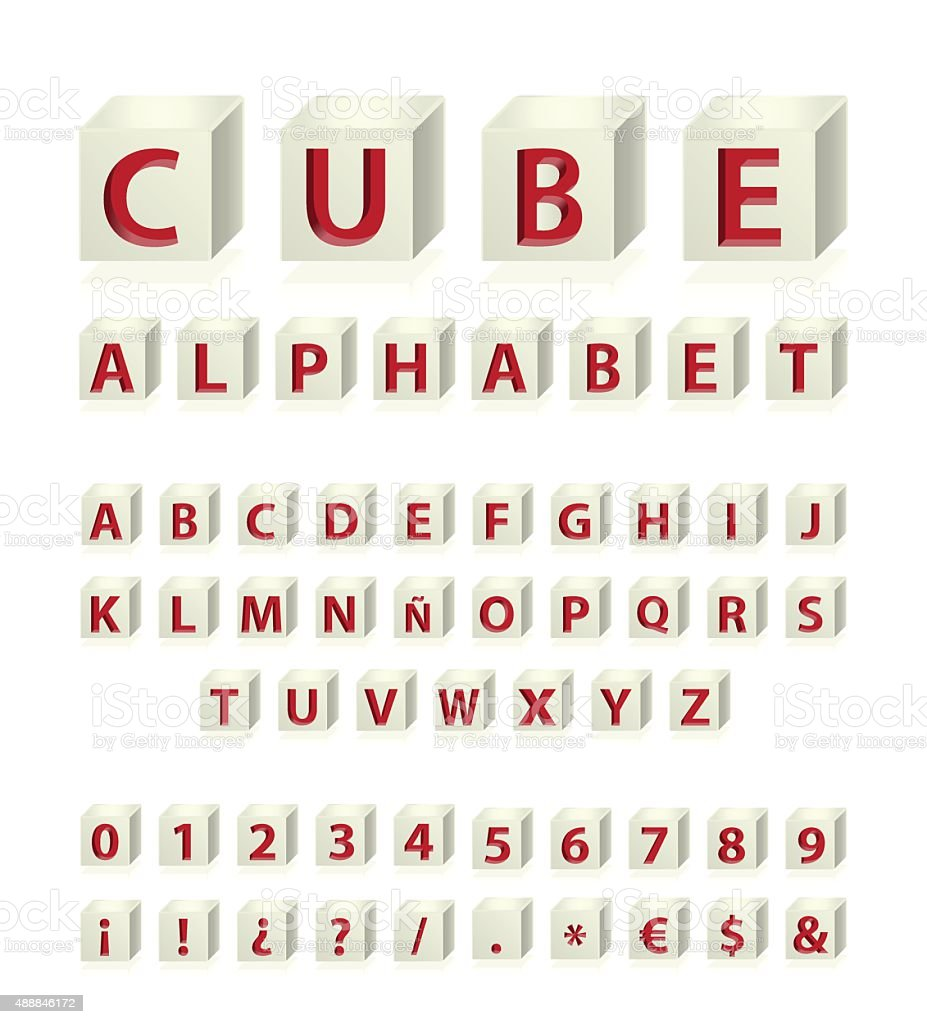 3d Red Alphabet Symbols And Numbers With Cavalier Perspective Stock