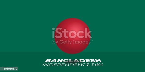 istock 3d red ball with green background design for Bangladesh independence day 1303536370