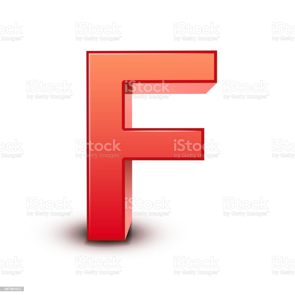 3d red letter F royalty-free 3d red letter f stock vector art & more images of abstract