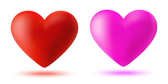 3d red pink heart icon set. Valentines day card. Symbol of love. Valentine banner design element. Vector illustration.