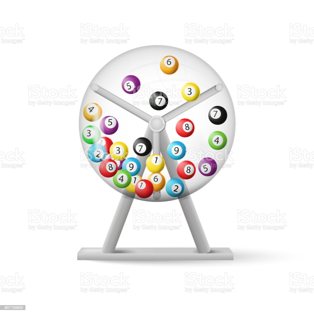 3d rendering of lottery machine with balls inside isolated on white background. Vector illustration. vector art illustration