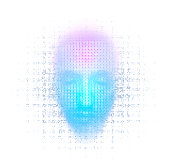 3d rendering of robot face on white background represent artificial intelligence. Future science, modern technology concept. 3d illustration