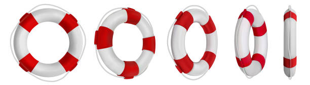 3d rescue life belt illustrations. 5 different perspectives of lifeboat, buoy. Realistic vetor illustration collection. Set of lifeline icons isolated. 3d rescue life belt illustrations. 5 different perspectives of lifeboat, buoy. Realistic vetor illustration collection. Set of lifeline icons isolated. lifeguard stock illustrations