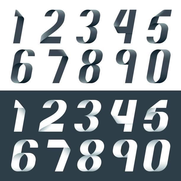 3d ribbon number set in 2 different colors vector art illustration