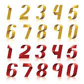 3d ribbon number set in gold & red color.