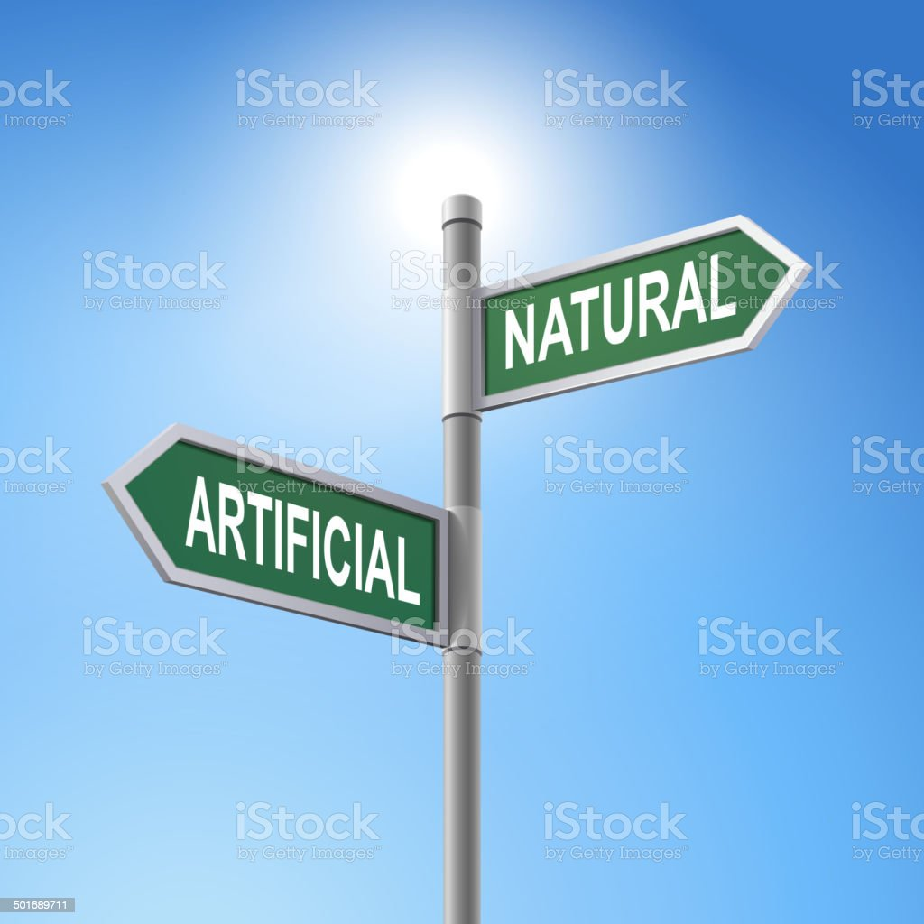 3d road sign saying artificial and natural royalty-free stock vector art