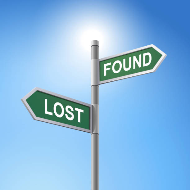3d road sign saying lost and found - lost stock illustrations