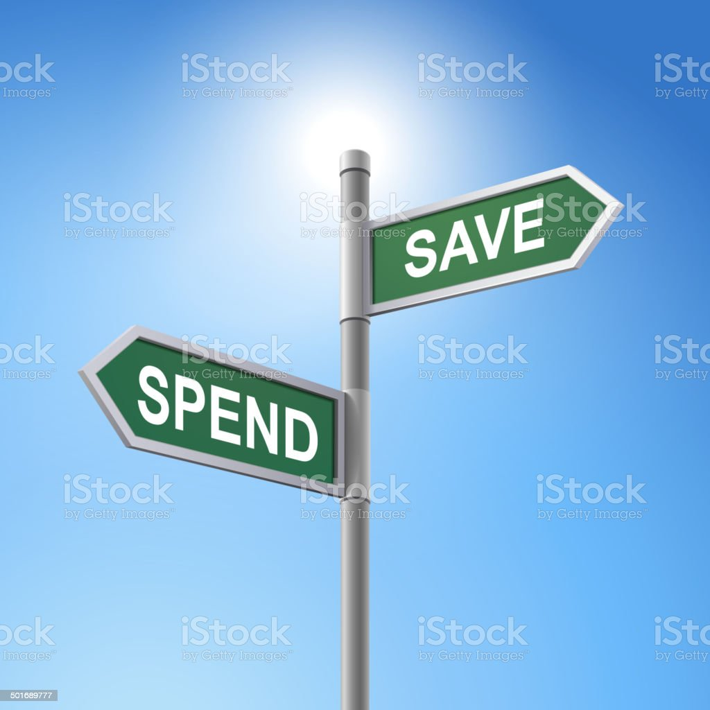 3d road sign saying spend and save royalty-free stock vector art