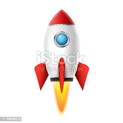 3d rocket space ship launch background. Realistic rocketship spaceship vector design. Shuttle creative icon.