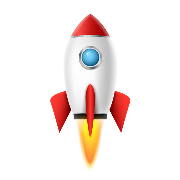 3d rocket space ship launch background. Realistic rocketship spaceship vector design. Shuttle creative icon 3d rocket space ship launch background. Realistic rocketship spaceship vector design. Shuttle creative icon. rocket stock illustrations