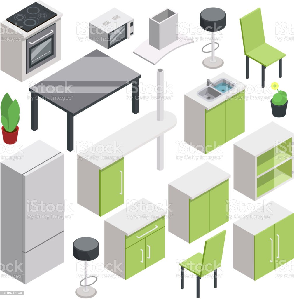 3d Room Design. Vector Isometric Furniture Set For Kitchen Royalty Free 3d  Room Design