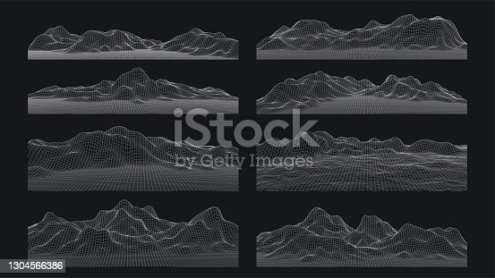 istock 3d sci-fi retro connection background. Wireframe topography landscape. Blockchain and crypto currency technology background. Digital landscape. HUD elements. Big data and artificial intelligence. 1304566386