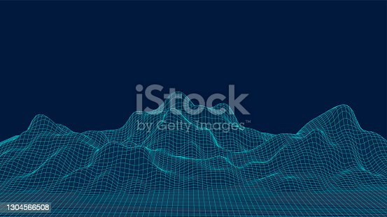 istock 3d sci-fi retro connection background. Wireframe topography landscape. Blockchain and crypto currency technology background. Digital landscape. HUD elements. Big data and artificial intelligence. 1304566508