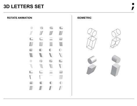 3d Semicolon sign Alphabet Letters Set Animate Isometric Wireframe Vector