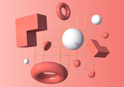 3d shapes flying in front of the golden grid over pink background. Vector illustration