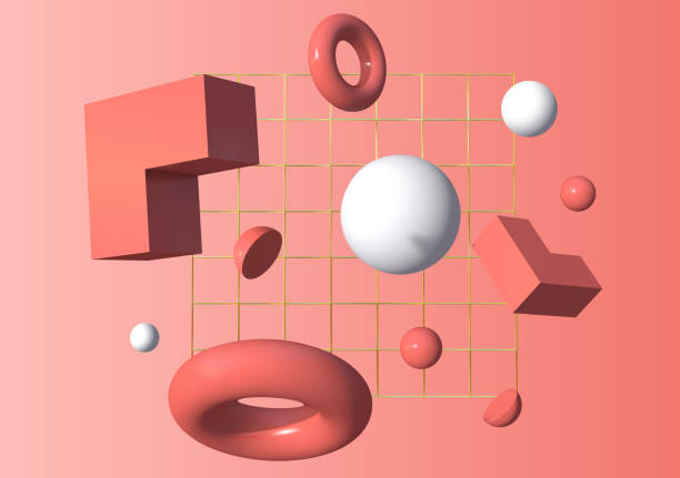 3d shapes flying in front of the golden grid over pink background. Vector illustration 3d shapes flying in front of the golden grid over living coral pink background. Modern 80s styled motion figures. Vector illustration three dimensional stock illustrations