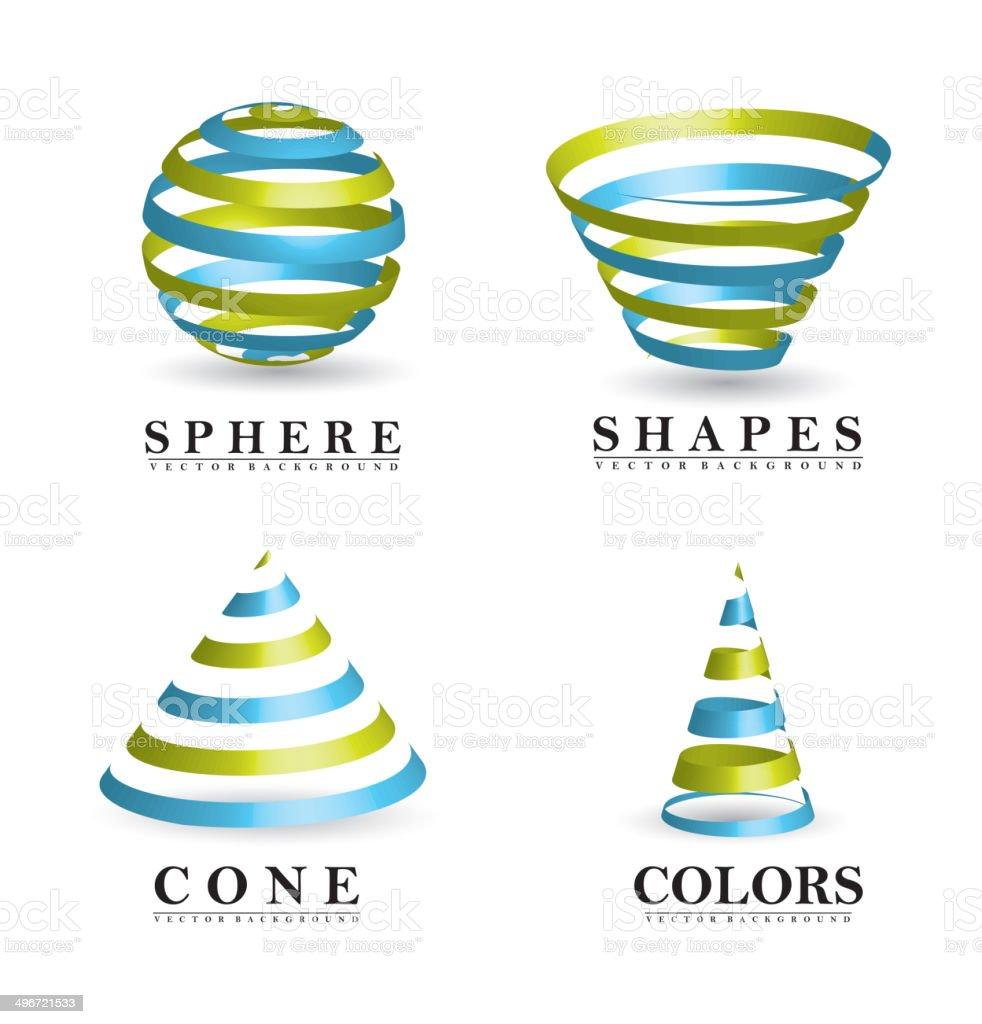 3d shapes vector art illustration