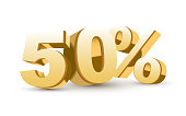 3d shiny golden discount collection - 50 percent isolated white background