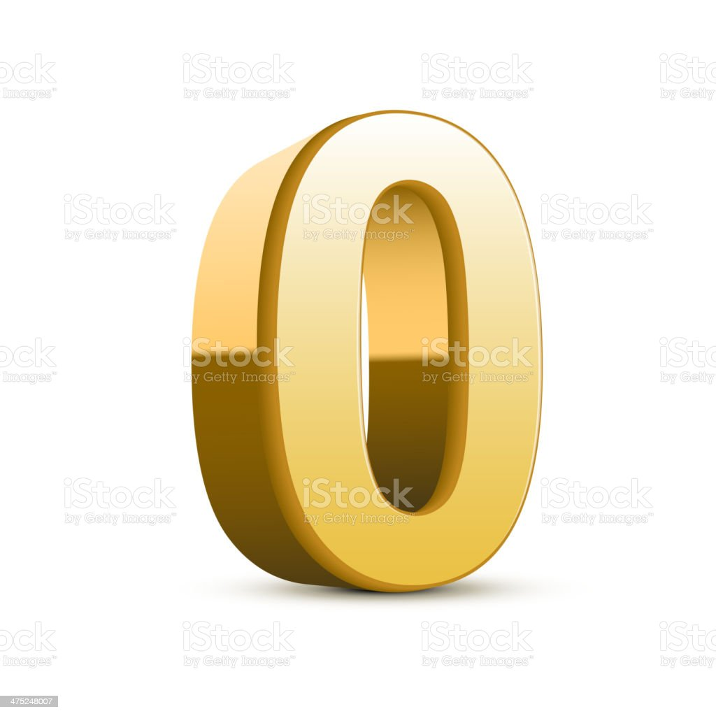3d shiny golden number 0 royalty-free stock vector art