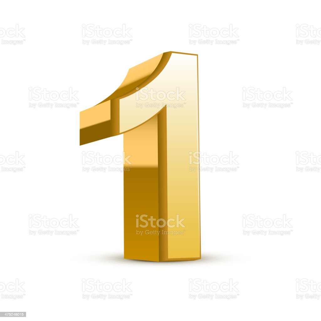 3d shiny golden number 1 vector art illustration