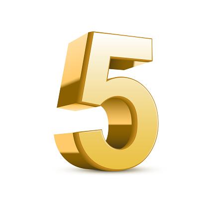 3d shiny golden number 5