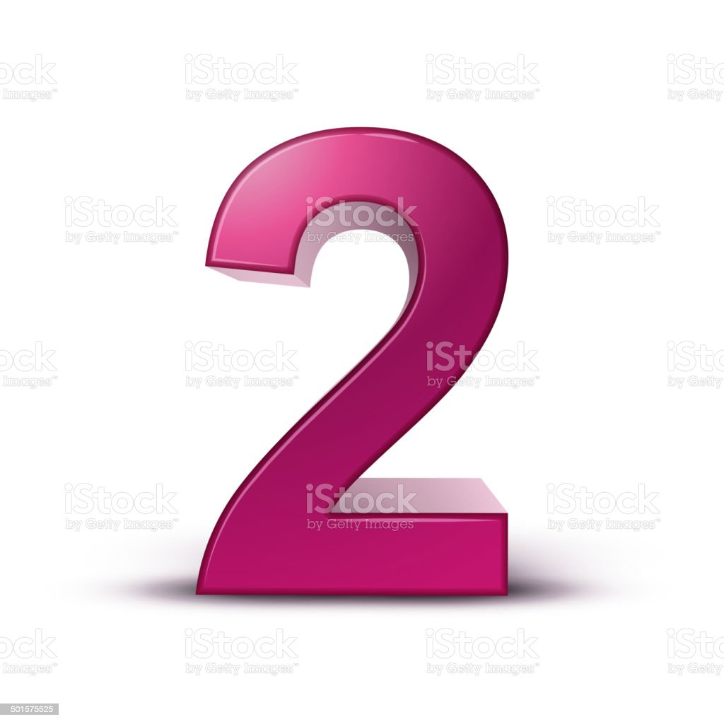 Ilustración de 3 D Brillante De Color Rosa Número 2 y más banco de ...