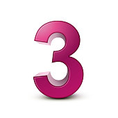 3d shiny pink number 3 on white background
