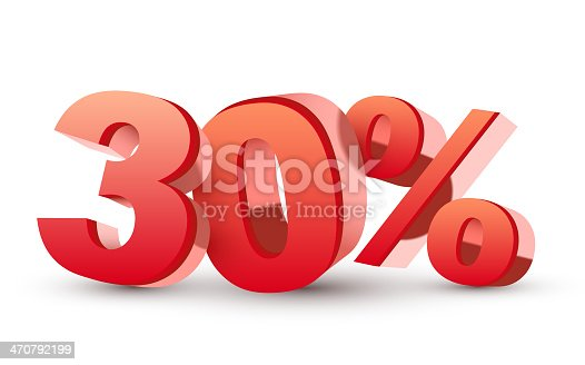 3d shiny red discount collection - 30 percent isolated white background