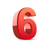 3d shiny red number 6 on white background